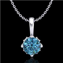 0.62 CTW Fancy Intense Blue Diamond Solitaire Art Deco Necklace 18K White Gold - REF-67X3T - 37796
