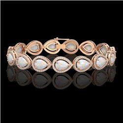 17.15 CTW Opal & Diamond Halo Bracelet 10K Rose Gold - REF-321W6F - 41250