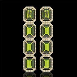 19.44 CTW Tourmaline & Diamond Halo Earrings 10K Yellow Gold - REF-258F9N - 41593