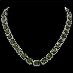 80.65 CTW Tourmaline & Diamond Halo Necklace 10K White Gold - REF-1047X6T - 41495