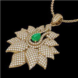 3 CTW Emerald & Micro VS/SI Diamond Designer Necklace 18K Yellow Gold - REF-257Y3K - 22562