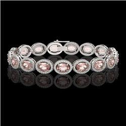 20.18 CTW Morganite & Diamond Halo Bracelet 10K White Gold - REF-377K3W - 40613