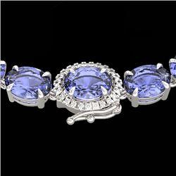 80 CTW Tanzanite & VS/SI Diamond Tennis Micro Halo Necklace 14K White Gold - REF-890T9M - 23477