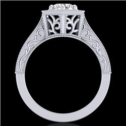 0.77 CTW VS/SI Diamond Art Deco Ring 18K White Gold - REF-218T2M - 36896