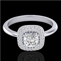 1.16 CTW Micro Si Cushion Diamond Engagement Ring Solitaire Halo 18K White Gold - REF-149W5F - 21031