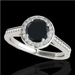 1.93 CTW Certified VS Black Diamond Solitaire Halo Ring 10K White Gold - REF-76T9M - 33520