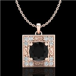 1.02 CTW Fancy Black Diamond Solitaire Art Deco Stud Necklace 18K Rose Gold - REF-70M9H - 38165