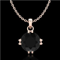 1 CTW Fancy Black Diamond Solitaire Art Deco Stud Necklace 18K Rose Gold - REF-67W3F - 37542