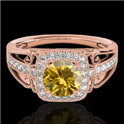 1.3 CTW Certified Si/I Fancy Intense Yellow Diamond Solitaire Halo Ring 10K Rose Gold - REF-236M4H -