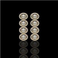 5.33 CTW Oval Diamond Designer Earrings 18K Yellow Gold - REF-982W4F - 42766