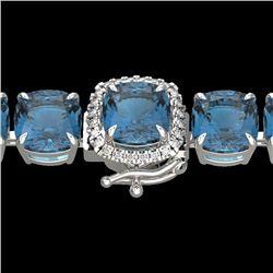 35 CTW London Blue Topaz & Micro VS/SI Diamond Halo Bracelet 14K White Gold - REF-152W2F - 23330