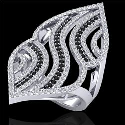 2 CTW Micro Pave Black & White VS/SI Diamond Designer Ring 14K White Gold - REF-162H5A - 20867