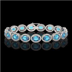 24.32 CTW Swiss Topaz & Diamond Halo Bracelet 10K White Gold - REF-252K8W - 40634