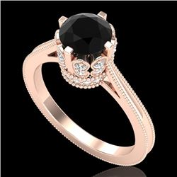 1.5 CTW Fancy Black Diamond Solitaire Engagement Art Deco Ring 18K Rose Gold - REF-109X3T - 37346