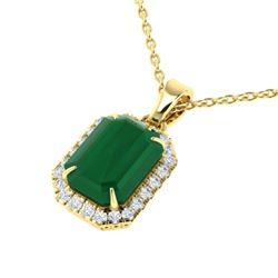 5.50 CTW Emerald & Micro Pave VS/SI Diamond Halo Necklace 18K Yellow Gold - REF-77X8T - 21359