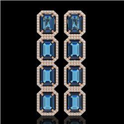 18.99 CTW London Topaz & Diamond Halo Earrings 10K Rose Gold - REF-184X4T - 41607