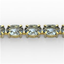 20 CTW Aquamarine Eternity Designer Inspired Tennis Bracelet 14K Yellow Gold - REF-178K2W - 23386