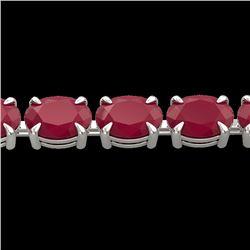 29 CTW Ruby Eternity Designer Inspired Tennis Bracelet 14K White Gold - REF-180H2A - 23393