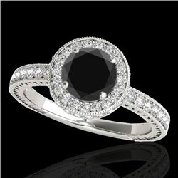 1.51 CTW Certified VS Black Diamond Solitaire Halo Ring 10K White Gold - REF-74T8M - 34304
