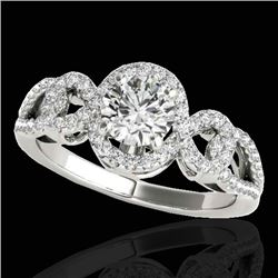 1.38 CTW H-SI/I Certified Diamond Solitaire Halo Ring 10K White Gold - REF-174M5H - 33918