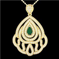 2 CTW Emerald & Micro Pave VS/SI Diamond Designer Necklace 18K Yellow Gold - REF-178W2F - 21262