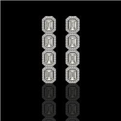 5.33 CTW Emerald Cut Diamond Designer Earrings 18K White Gold - REF-1125N6Y - 42665
