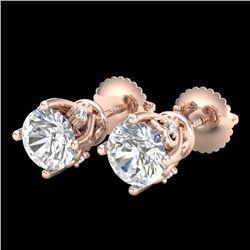 1.26 CTW VS/SI Diamond Solitaire Art Deco Stud Earrings 18K Rose Gold - REF-209T3M - 37020