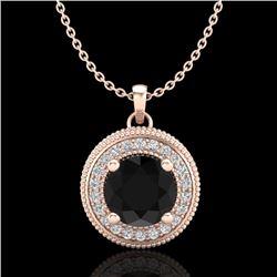 1.25 CTW Fancy Black Diamond Solitaire Art Deco Stud Necklace 18K Rose Gold - REF-89M3H - 38018