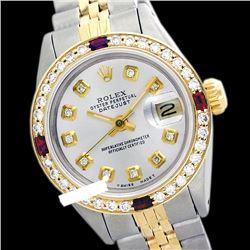 Rolex Ladies Two Tone 14K Gold/SS, Diam Dial & Diam/Ruby Bezel, Sapphire Crystal - REF-434H4W