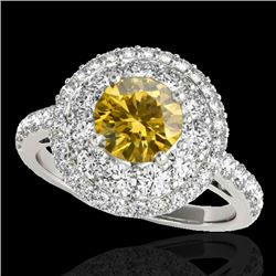 2.09 CTW Certified Si/I Fancy Intense Yellow Diamond Solitaire Halo Ring 10K White Gold - REF-220N2Y
