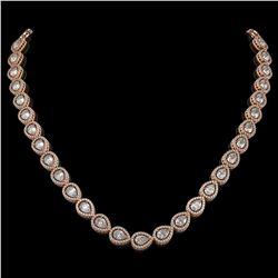 28.74 CTW Pear Diamond Designer Necklace 18K Rose Gold - REF-5269N3Y - 42642