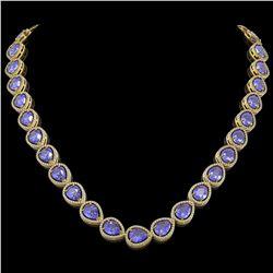 44.8 CTW Tanzanite & Diamond Halo Necklace 10K Yellow Gold - REF-1134N9Y - 41197