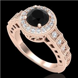 1.53 CTW Fancy Black Diamond Solitaire Engagement Art Deco Ring 18K Rose Gold - REF-161H8A - 37647