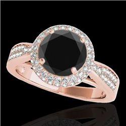 1.65 CTW Certified VS Black Diamond Solitaire Halo Ring 10K Rose Gold - REF-83T5M - 34409