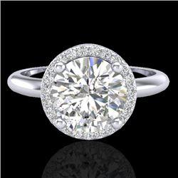 2 CTW Micro Pave VS/SI Diamond Ring Designer Halo 18K White Gold - REF-948A2X - 23209