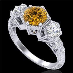 1.66 CTW Intense Fancy Yellow Diamond Art Deco 3 Stone Ring 18K White Gold - REF-254K5W - 38057