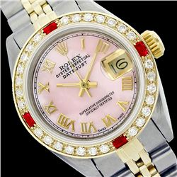 Rolex Ladies Two Tone 14K Gold/ss, Roman Dial with Diam/Ruby Bezel, Sapphire Crystal - REF-428Y6X