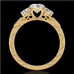 1.41 CTW VS/SI Diamond Solitaire Art Deco 3 Stone Ring 18K Yellow Gold - REF-263F6N - 37009