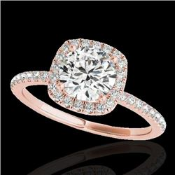 1.5 CTW H-SI/I Certified Diamond Solitaire Halo Ring 10K Rose Gold - REF-209F3N - 33335