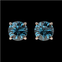 1.08 CTW Certified Intense Blue SI Diamond Solitaire Stud Earrings 10K Rose Gold - REF-87T2M - 36593