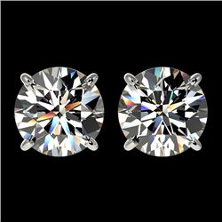 2.55 CTW Certified H-SI/I Quality Diamond Solitaire Stud Earrings 10K White Gold - REF-435X2T - 3667
