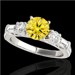2 CTW Certified Si/I Fancy Intense Yellow Diamond Pave Solitaire Ring 10K White Gold - REF-221F8N -