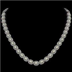 21.21 CTW Opal & Diamond Halo Necklace 10K White Gold - REF-555F3N - 40415