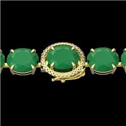 76 CTW Emerald & Micro Pave VS/SI Diamond Halo Bracelet 14K Yellow Gold - REF-461X5T - 22258