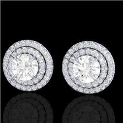 2 CTW Micro Pave VS/SI Diamond Stud Earrings Double Halo 18K White Gold - REF-242M4H - 21470