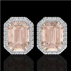 8.40 CTW Morganite & Micro Pave VS/SI Diamond Halo Earrings 18K White Gold - REF-210A8X - 21230