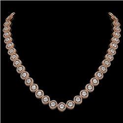 29.37 CTW Cushion Cut Diamond Designer Necklace 18K Rose Gold - REF-5275F5N - 42804