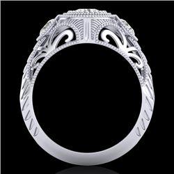 1.06 CTW VS/SI Diamond Solitaire Art Deco 3 Stone Ring 18K White Gold - REF-180W2F - 36893