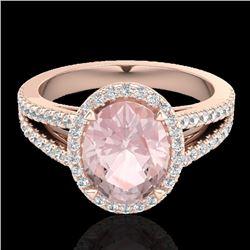 3 CTW Morganite & Micro VS/SI Diamond Halo Solitaire Ring 14K Rose Gold - REF-76Y4K - 20943