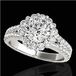2.51 CTW H-SI/I Certified Diamond Solitaire Halo Ring 10K White Gold - REF-384T2M - 33940